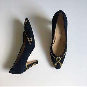 Navy Suede Gold Tassel Embroidered Vintage Heels